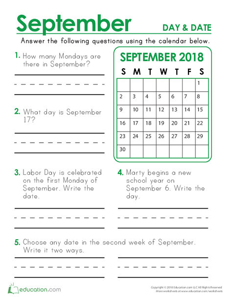 Second Grade Math Worksheets: September 2018 Calendar: Days and Dates