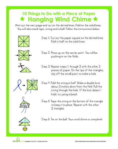 First Grade Arts & crafts Worksheets: Wind Chime Craft