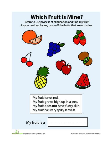 Preschool Math Worksheets: Process of Elimination: Fruit
