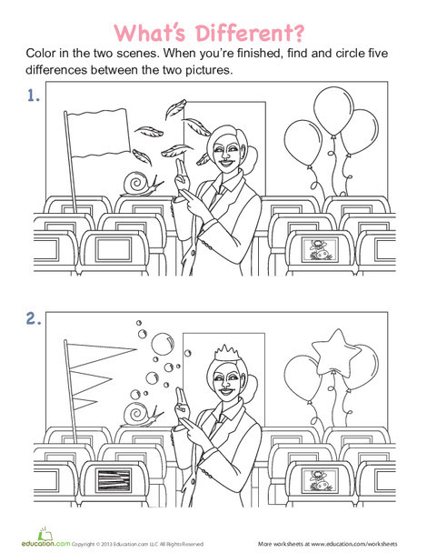 Kindergarten Math Worksheets: Spot the Differences: In the Aircraft Cabin
