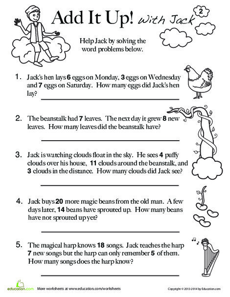 First Grade Math Worksheets: Jack and the Beanstalk Math