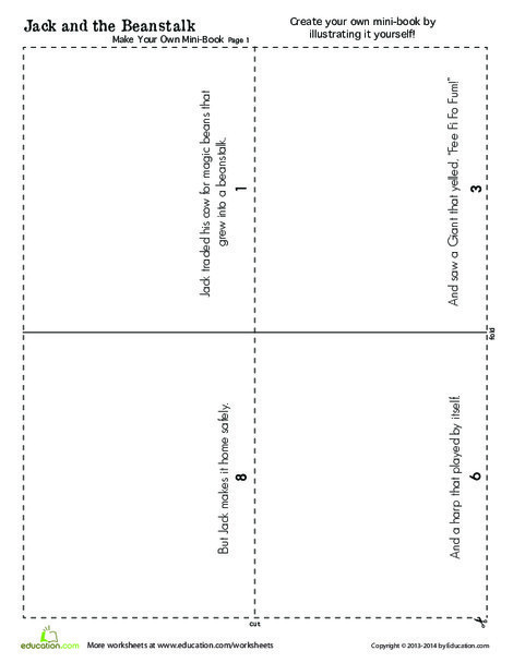 First Grade Reading & Writing Worksheets: Jack and the Beanstalk: Short Version Minibook