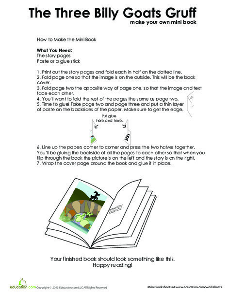 First Grade Reading & Writing Worksheets: Three Billy Goats Gruff Story
