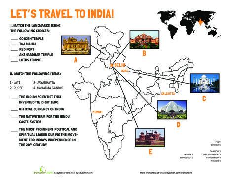 Fifth Grade Social studies Worksheets: India Landmarks