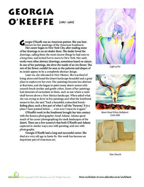 Fifth Grade Fine arts Worksheets: Georgia O'Keeffe