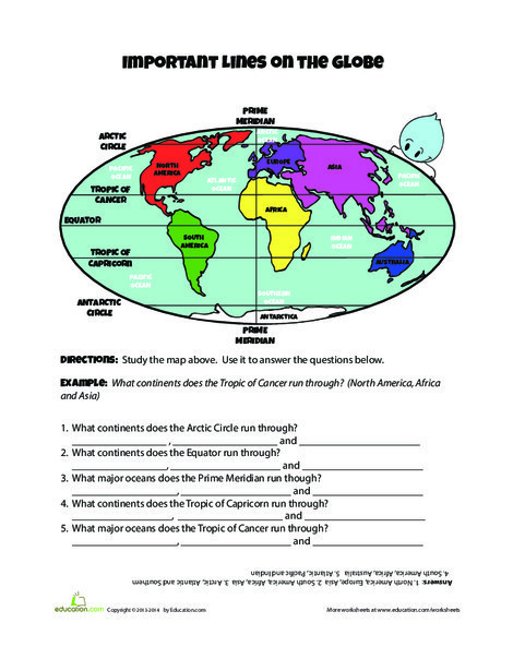 Fourth Grade Social studies Worksheets: Lines on the Globe