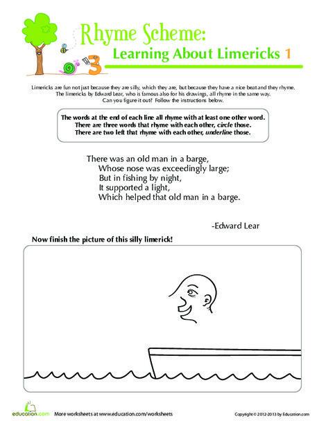 Third Grade Reading & Writing Worksheets: Limerick Fun