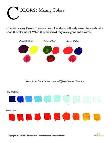 First Grade Fine arts Worksheets: Color Mixing