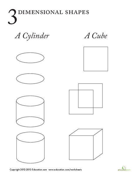 First Grade Math Worksheets: 3-Dimensional Shapes