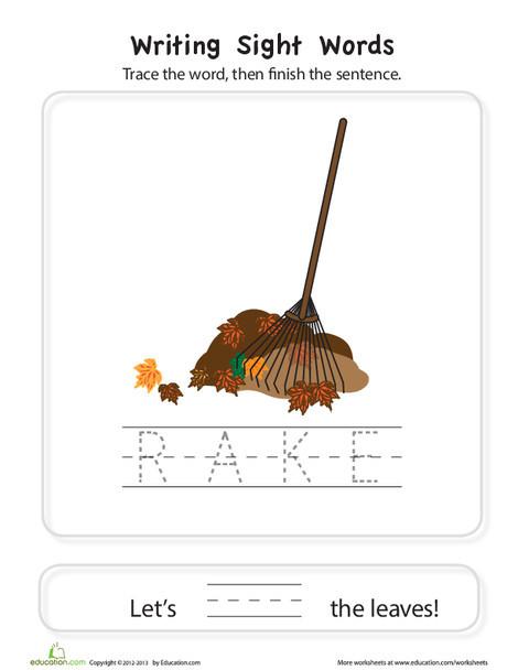 "Preschool Reading & Writing Worksheets: Word Families ""-ake"""