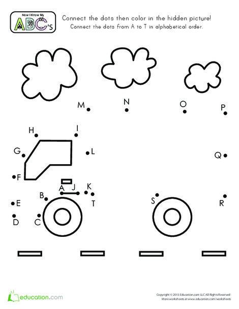 Preschool Reading & Writing Worksheets: Truck Dot-to-Dot