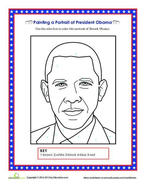 Second Grade Social studies Worksheets: Barack Obama Coloring Page
