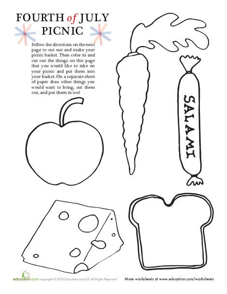 Preschool Holidays Worksheets: 4th of July Picnic