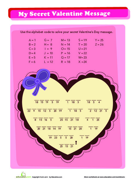 Fourth Grade Holidays Worksheets: Secret Valentine Message