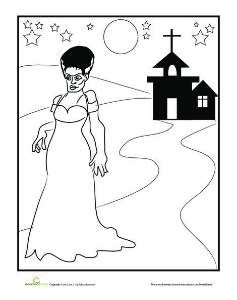 First Grade Holidays Worksheets: Frankenstein Bride