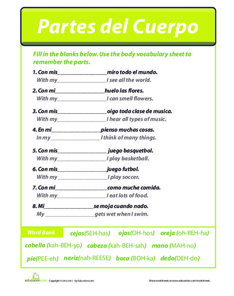 Fourth Grade Foreign language Worksheets: Body Parts in Spanish