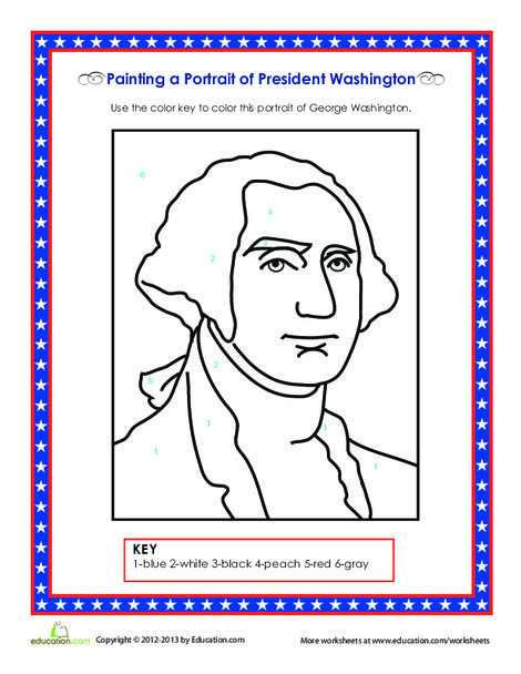 Second Grade Social studies Worksheets: Picture of George Washington
