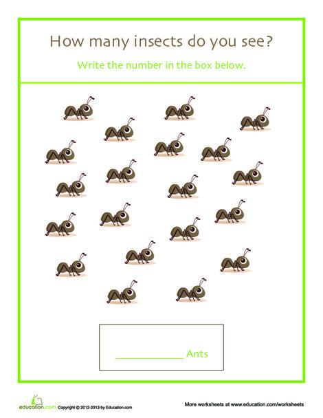 Kindergarten Math Worksheets: Counting Ants