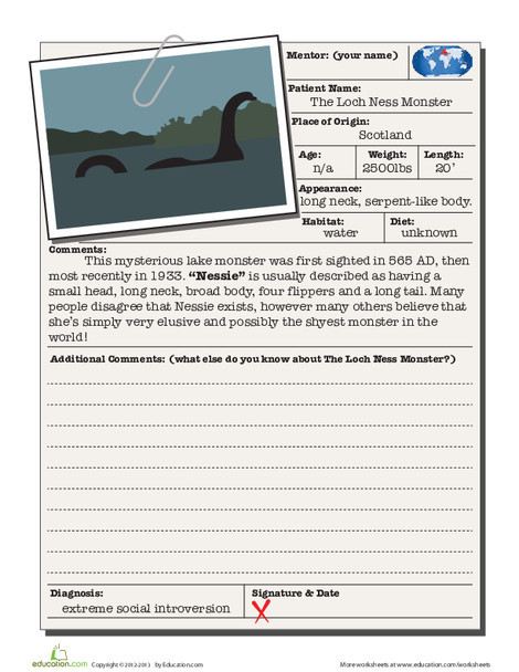 Fourth Grade Reading & Writing Worksheets: Loch Ness Monster
