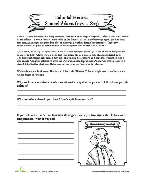Fifth Grade Social studies Worksheets: Samuel Adams