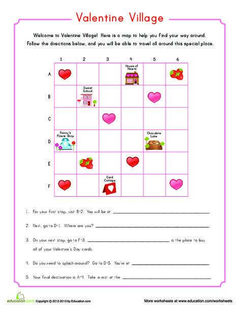 Second Grade Holidays Worksheets: Valentine Map