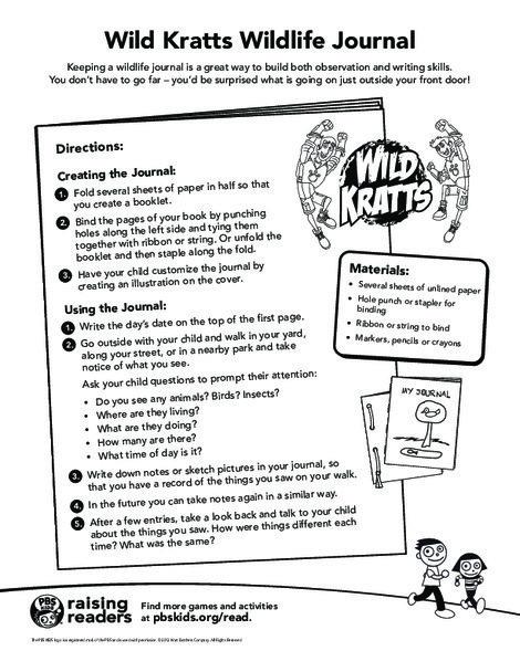 Kindergarten Science Worksheets: Wild Kratts Wildlife Journal