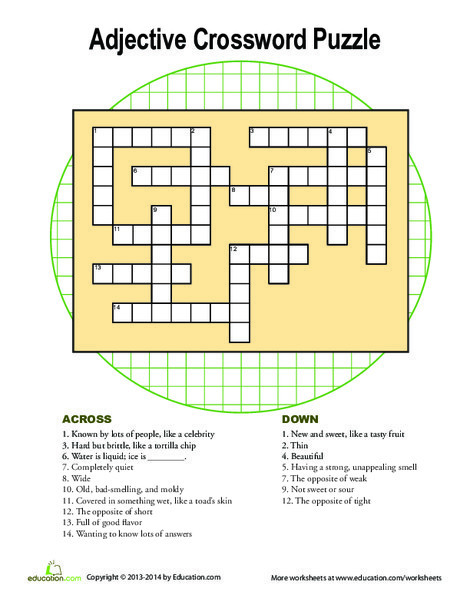 Second Grade Reading & Writing Worksheets: Adjectives Crossword