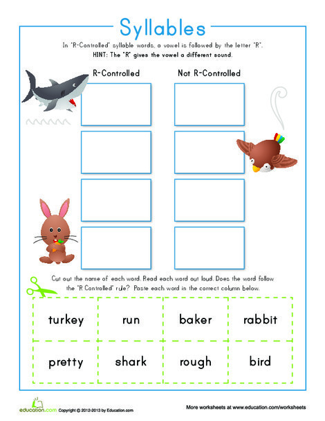 "Second Grade Reading & Writing Worksheets: ""R"" Controlled Syllables"