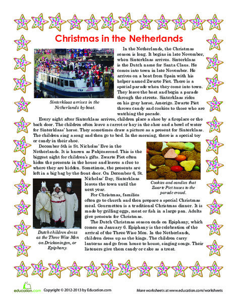First Grade Reading & Writing Worksheets: Christmas in the Netherlands
