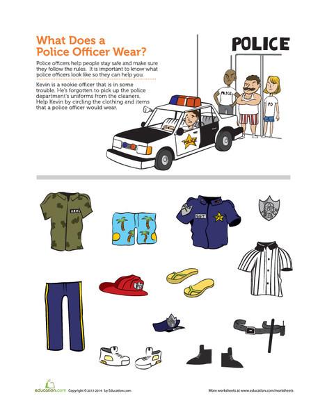 Preschool Social studies Worksheets: Community Helpers: Police Officer