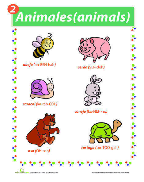Fourth Grade Foreign language Worksheets: Spanish Names for Animals