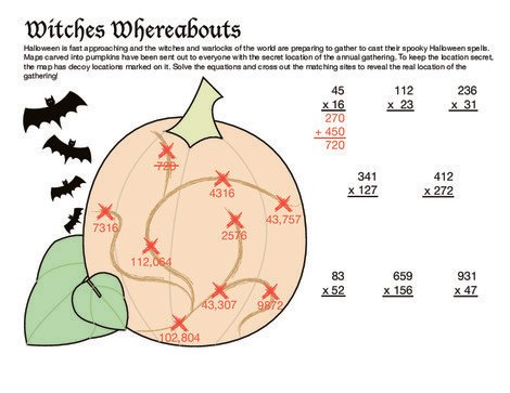 Fifth Grade Math Worksheets: Witch Multiplication
