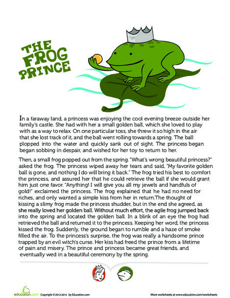 First Grade Reading & Writing Worksheets: Story of the Frog Prince