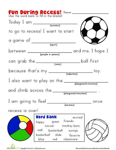 Kindergarten Reading & Writing Worksheets: Recess Story