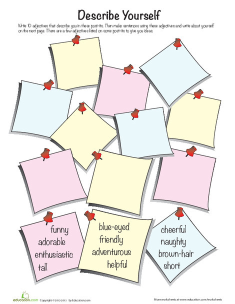 Second Grade Reading & Writing Worksheets: Adjectives to Describe Yourself