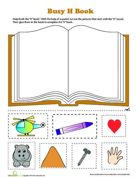 Preschool Reading & Writing Worksheets: H Book