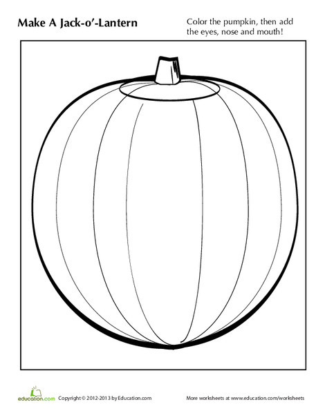 Kindergarten Arts & crafts Worksheets: Make a Jack-o'-Lantern