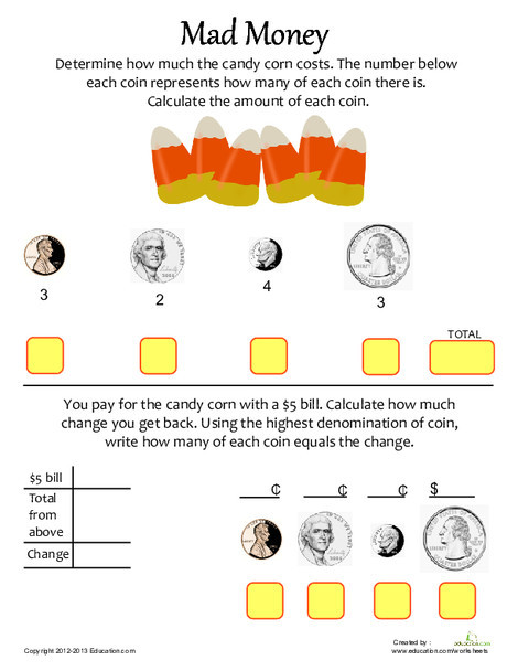 Fourth Grade Math Worksheets: Calculate the Change