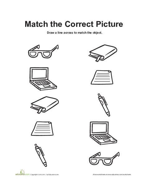 Preschool Math Worksheets: Library Matching Game