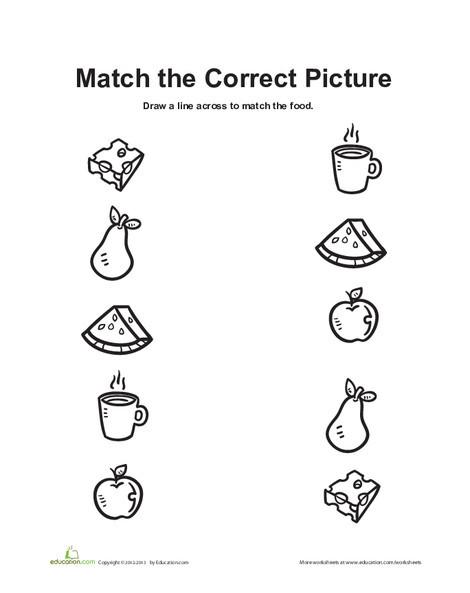 Preschool Math Worksheets: Food Matching Game 2
