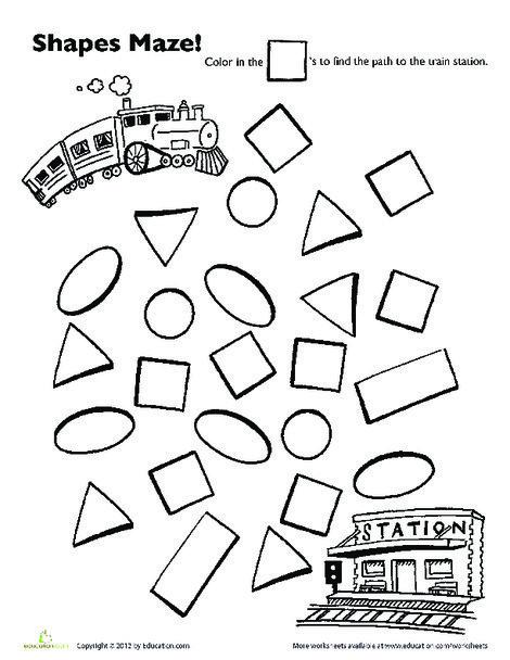 Preschool Math Worksheets: Choo Choo Train Shape Maze