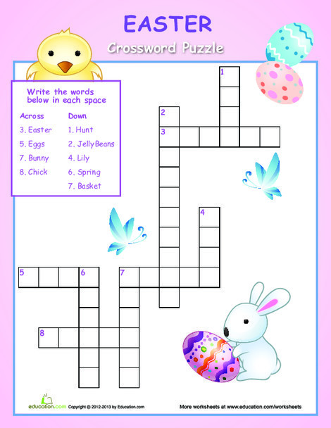 First Grade Offline games Worksheets: Easy Easter Crossword