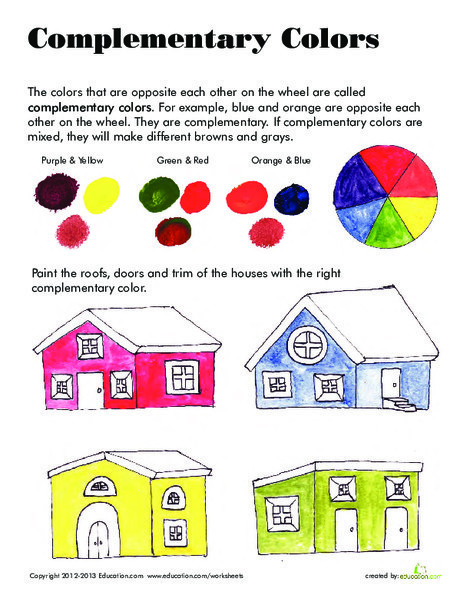 Third Grade Science Worksheets: Complementary Colors