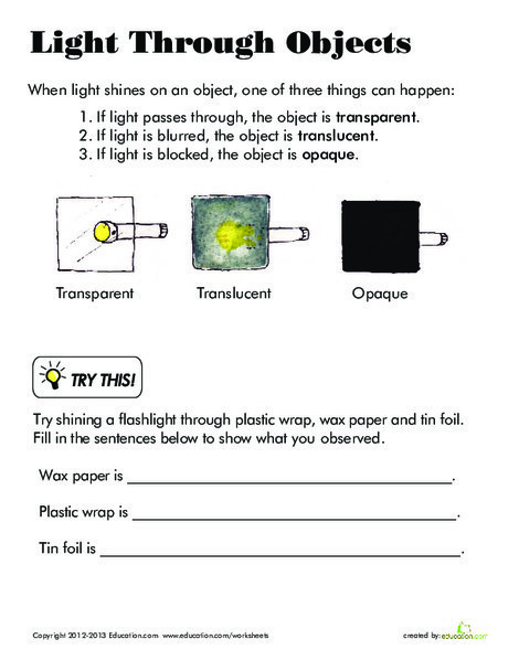 Third Grade Science Worksheets: Light Through Objects