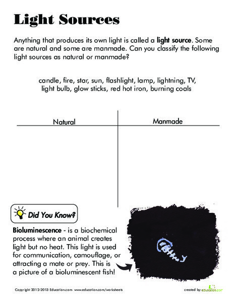 Third Grade Science Worksheets: Light Sources