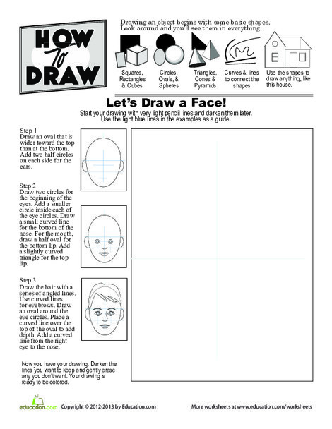 Second Grade Offline games Worksheets: How to Draw a Face