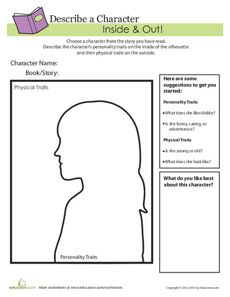Second Grade Reading & Writing Worksheets: Describe a Character