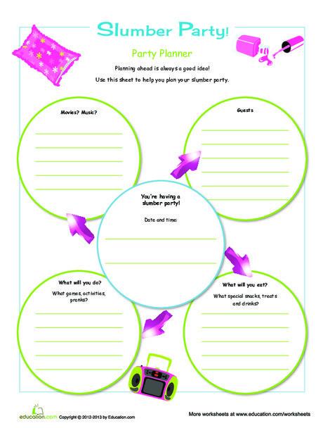 Third Grade Offline games Worksheets: Slumber Party Planner