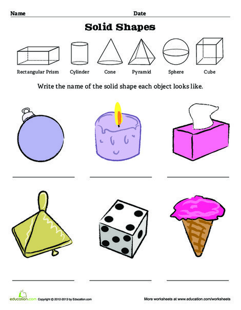 Fourth Grade Math Worksheets: Geometric Solid Shapes