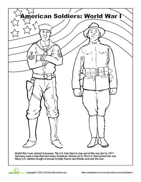 Second Grade Social studies Worksheets: American Soldiers Coloring Page: World War I